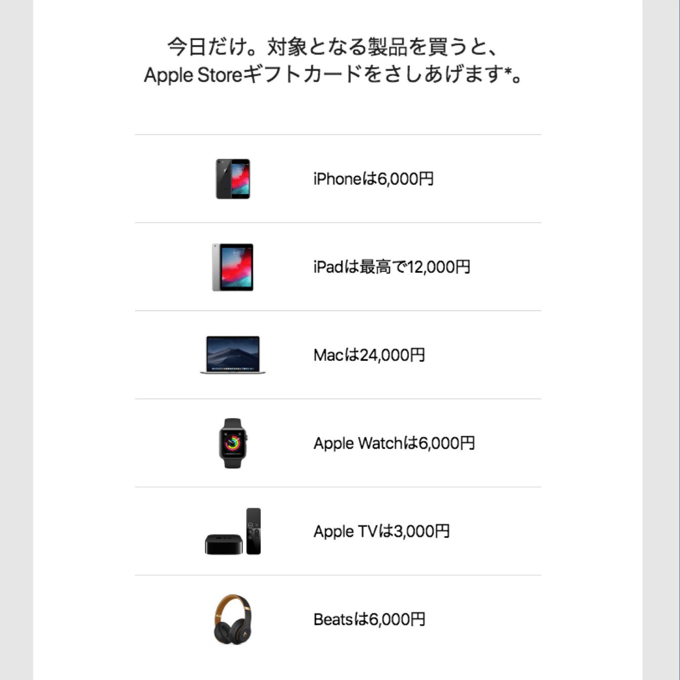 初売り対象のApple製品とギフトカードの金額です。