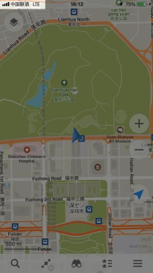 中国・深センに滞在中、iPhoneの地図アプリを起動している画面です。スマホの電波状況が表示されています。