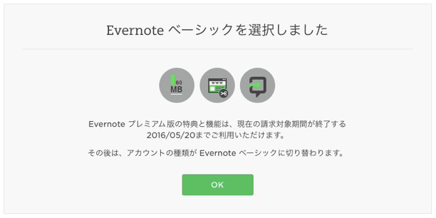 Evernoteのベーシックを選択しました