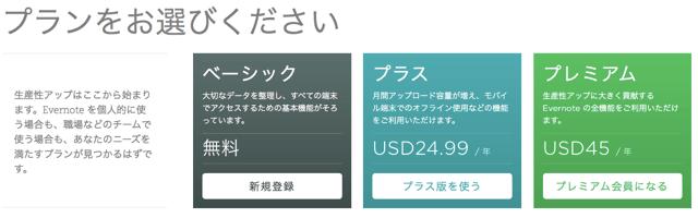 Evernoteのプラン選択:ドル建て表示