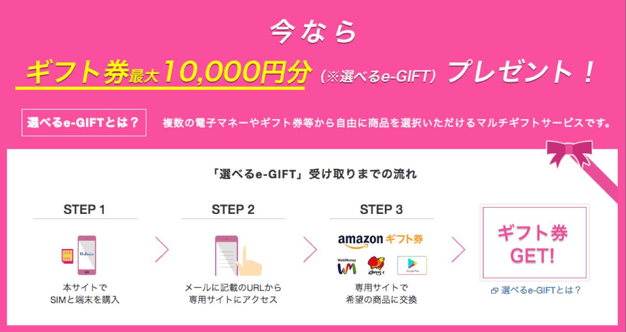 対象端末と音声SIMのセット申し込みで最大10,000円分のギフト券プレゼント。