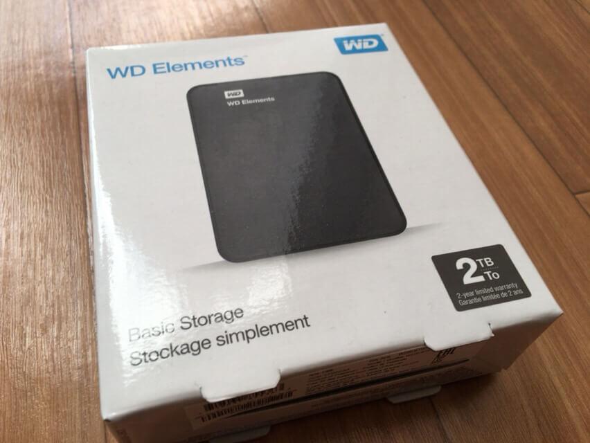 WD Elemetns ポータブルハードディスクのパッケージ写真です。
