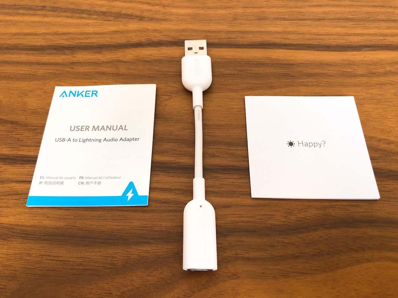 Anker(アンカー)の「USB to Lightning オーディオアダプター」の写真です。