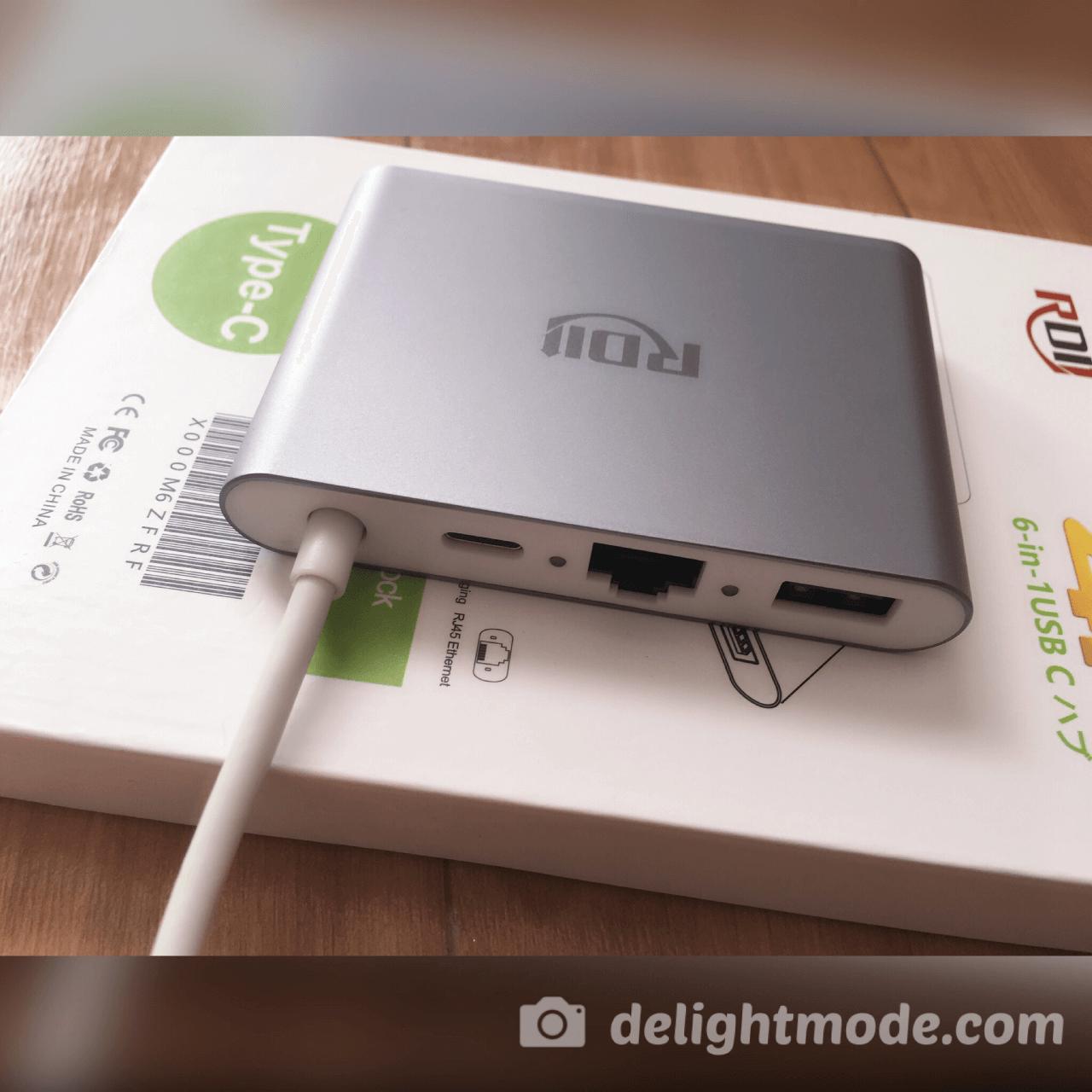 背面の接続ポートは3つあります。USB-A 3.0、有線LAN(RJ45)、USB-CのPD充電用です。