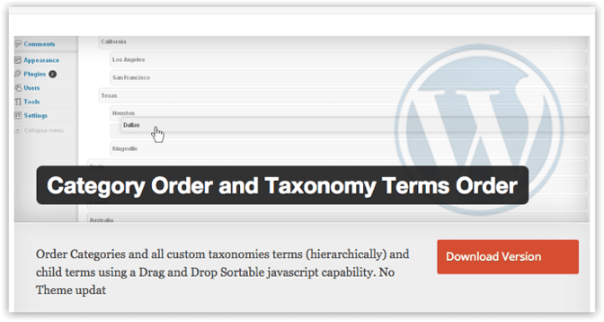 Wordpress category order and taxonomy terms order 1